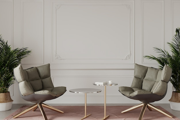 Salon moderne avec fauteuils et plantes