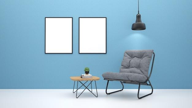 Salon moderne intérieur avec canapé. rendu 3d