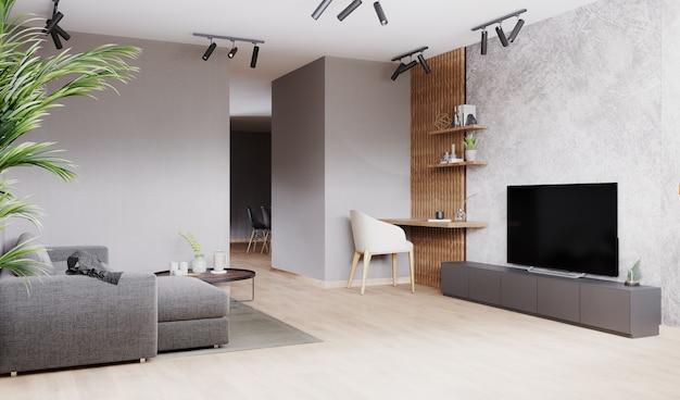 Salon moderne lumineux avec canapé gris, chaise blanche sur stratifié en bois