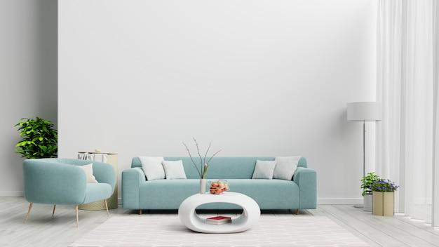Salon moderne lumineux et confortable avec canapé et lampe sur mur blanc.