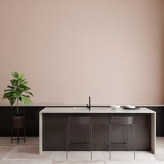 Salon moderne avec des meubles devant le mur rose