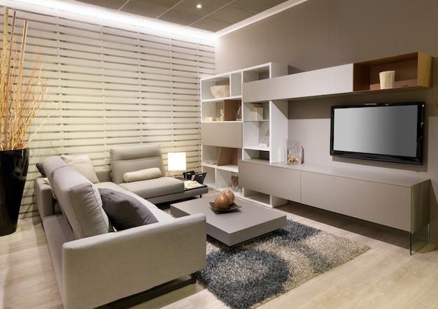 Salon moderne et minimaliste avec un décor beige et un grand canapé confortable face à une télévision et une unité murale avec table basse et tapis sur un plancher en bois