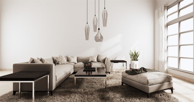 Salon moderne avec mur blanc sur parquet et canapé