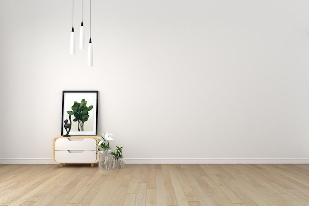Salon moderne avec plancher de bois et mur blanc