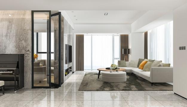 Salon moderne de rendu 3d avec piano et fauteuil