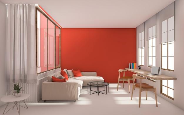 Salon moderne rouge avec lumière du jour de la fenêtre