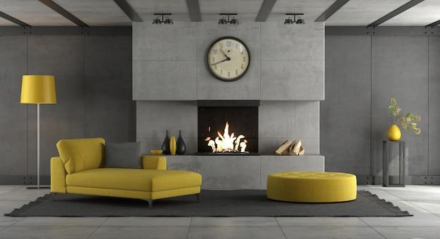 Salon avec mur de béton, cheminée et mobilier jaune - rendu 3d