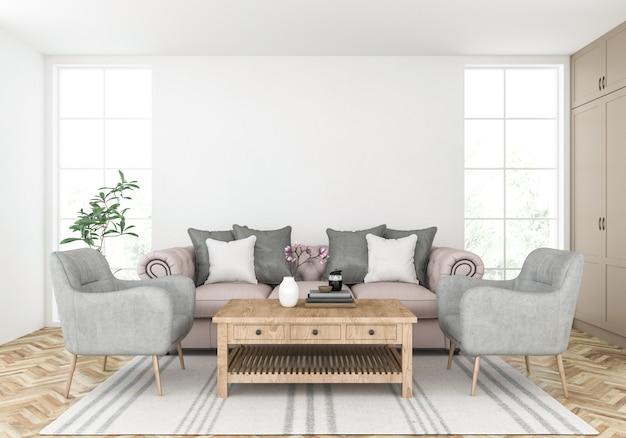 Salon avec mur blanc, présentoir