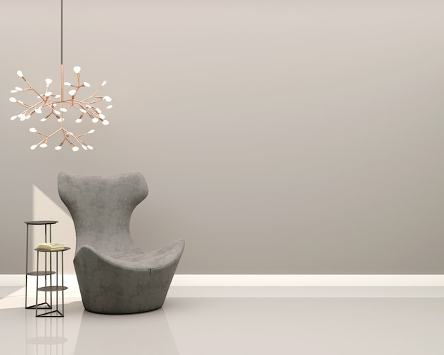 Salon avec mur gris fauteuil en velours gris table d'appoint décorative et lustre