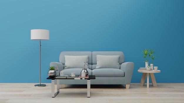 Salon et mur intérieur de luxe pour la tendance de couleur bleue classique 2020.