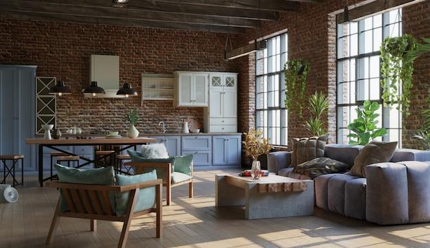 Salon ouvert avec cuisine murs de briques rendu 3d de style industriel