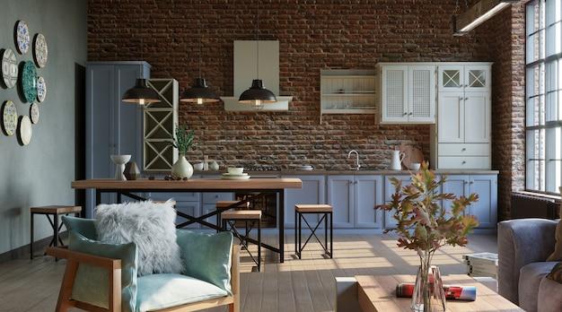 Salon ouvert avec cuisine de style industriel rendu 3d