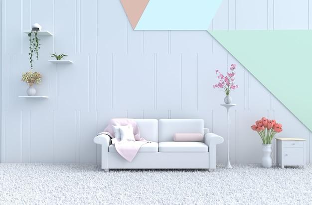Salon pastel, canapé, mur, orchidée, tulipe, tapis. noël, nouvel an. rendu 3d