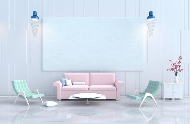 Salon pastel le jour de noël, canapé de nouvelle année.décor, oreiller, fauteuil, lampe, orchidée.