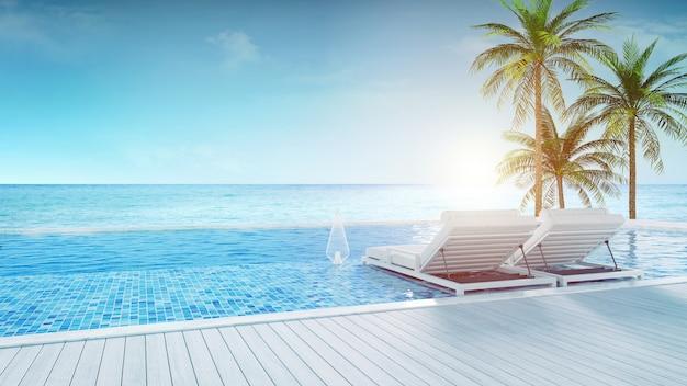 Salon de plage, chaises longues sur la terrasse pour bronzer et piscine privée avec vue panoramique sur la mer dans une villa de luxe / rendu 3d