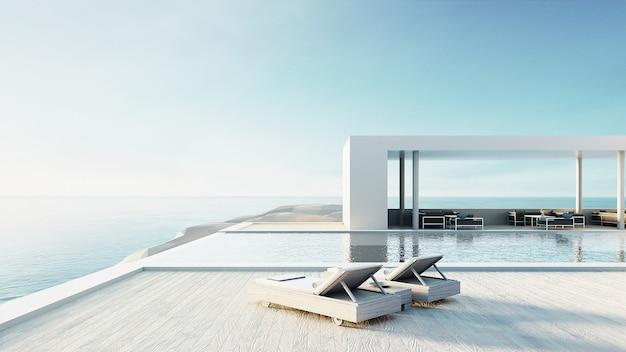 Salon de plage piscine extérieure et intérieur de luxe / rendu 3d