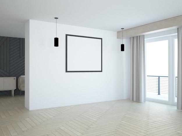 Salon presque vide avec grande affiche