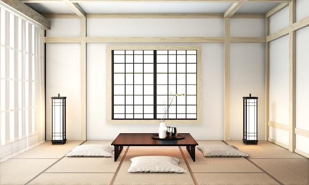Salon ryokan de style japonais avec sol en tatami et décoration. rendu 3d