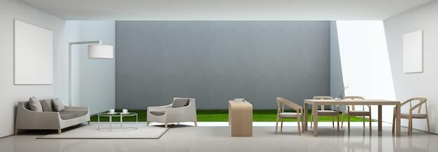 Salon et salle à manger dans maison moderne avec cadre photo blanc.