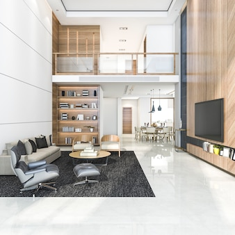 Salon et salle à manger moderne en bois rendu 3d