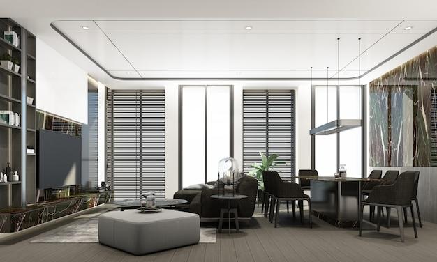 Salon et salle à manger modernes avec texture de marbre et design d'intérieur de couleur grise, rendu 3d