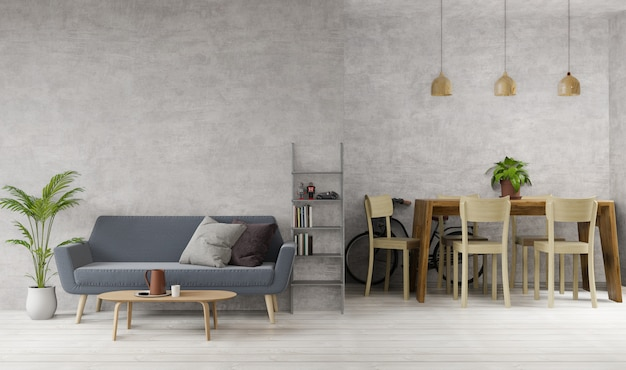 Salon et salle à manger de style loft avec béton brut, parquet, canapé, bureau, lampes