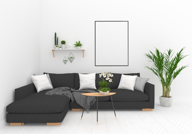 Salon scandinave avec cadre vertical