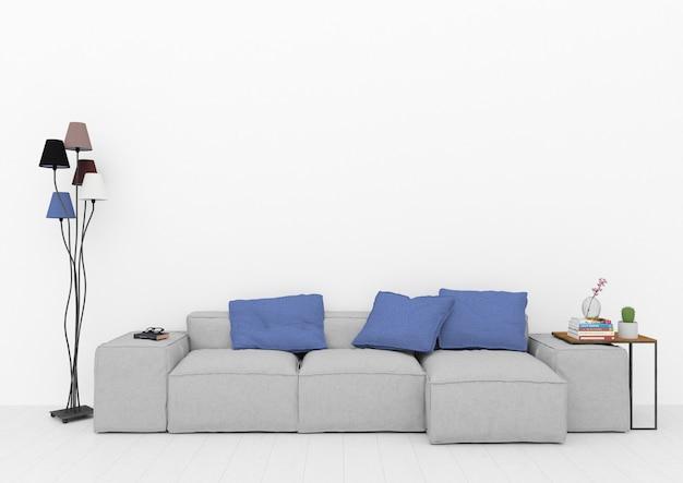 Salon scandinave avec mur blanc