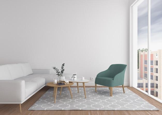 Salon scandinave avec mur blanc.