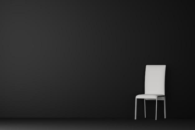 Salon sombre avec chaise blanche. rendu 3d.