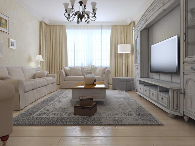 Salon de style campagnard avec intérieur lumineux de la pièce avec grande fenêtre et système mural exclusif et mobilier moelleux.
