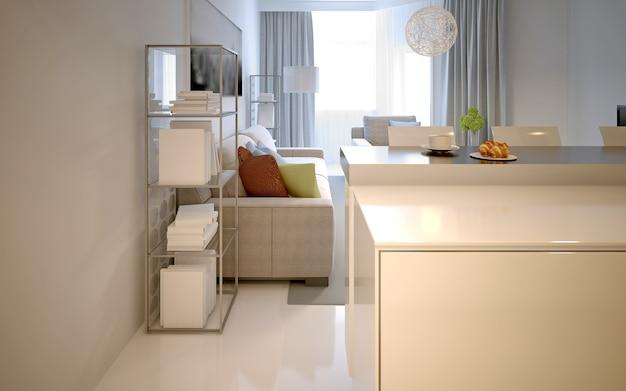 Salon de style contemporain avec bar. intérieur blanc. rendu 3d