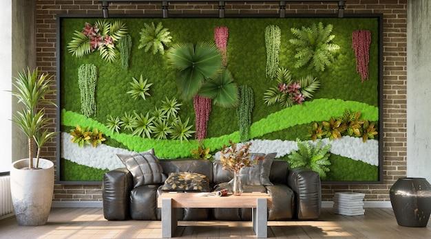 Salon de style industriel avec mur végétalisé