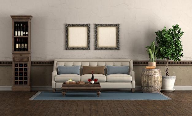 Salon de style rétro avec canapé et cave à vin