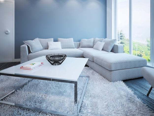 Salon de style scandinave avec canapé d'angle avec oreillers