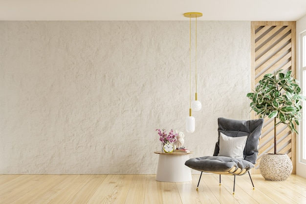 Salon de style scandinave avec fauteuil sur fond de mur blanc vide. rendu 3d