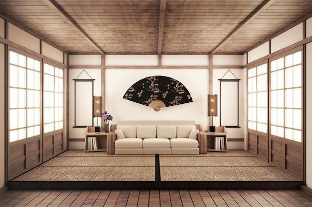 Salon de style zen de luxe. redimensionnement 3d
