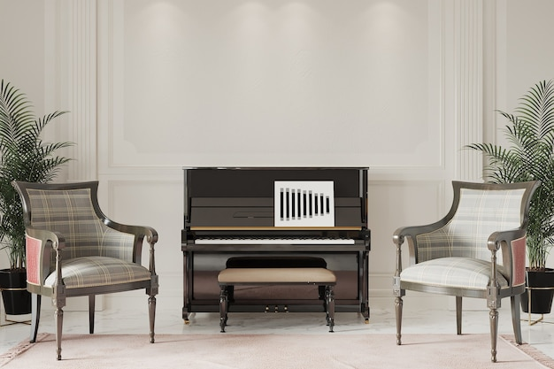 Salon de la suite appartement de luxe avec piano