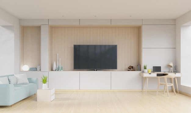 Salon avec tv, canapé avec table sur tapis et étagères