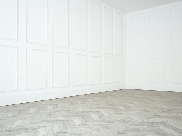 Salon vide blanc avec moulure sur le mur et plancher de bois franc