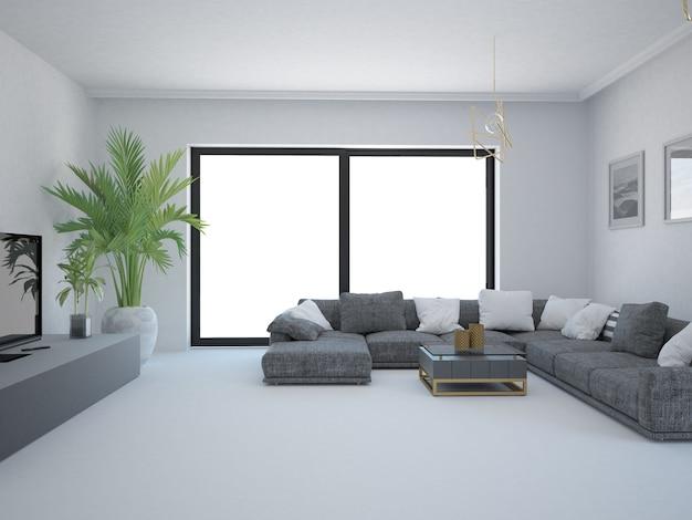 Salon vide avec canapé et fenêtre mur blanc