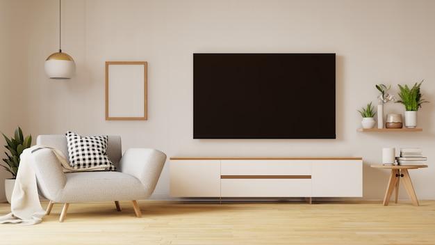 Salon vide avec canapé en tissu bleu, lampe et plantes. rendu 3d