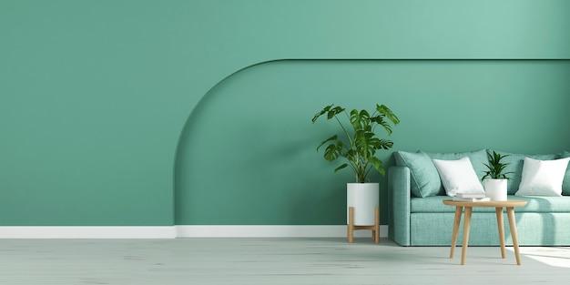 Salon vide avec fauteuil et plante monstera sur mur cyan vide