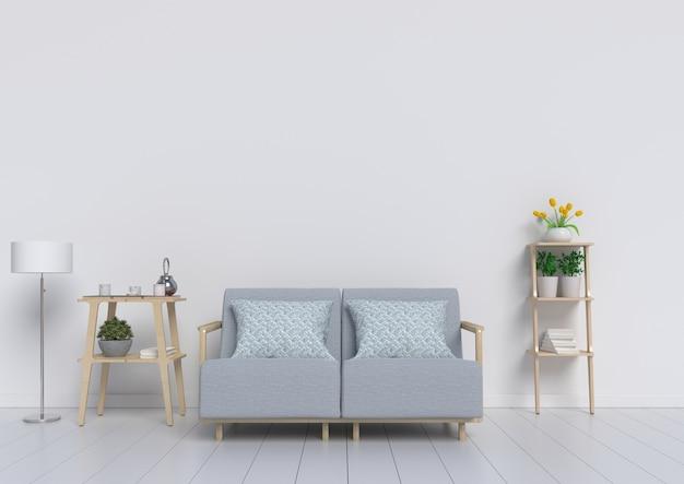 Salon Vide Avec Un Mur Blanc En Arrière-plan, Rendu 3d Photo Premium
