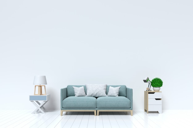 Salon vide avec mur blanc et canapé, lampe en arrière-plan