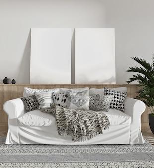 Salon vintage avec canapé et toile vierge