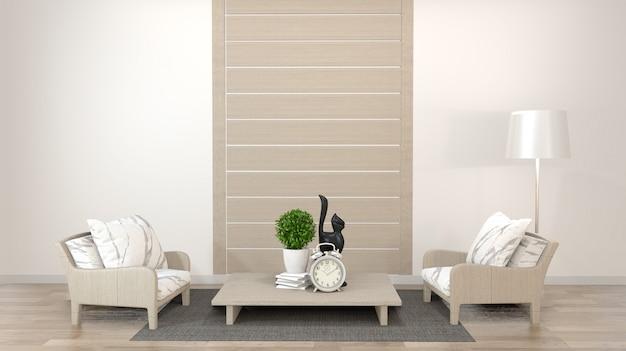 Salon zen design d'intérieur avec table basse, oreiller, structure, lampe sur plancher de bois. rendu 3d