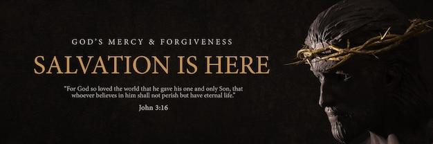 Le salut est ici bannière design jésus-christ avec le rendu 3d de la statue de la couronne d'épines