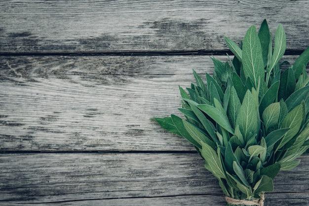 Salvia officinalis. feuilles de sauge sur une vieille table en bois. sauge du jardin. photo de magazine rétro. espace de copie.