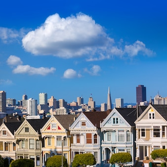 San Francisco, Maisons Victoriennes à Alamo Square, Californie Photo Premium